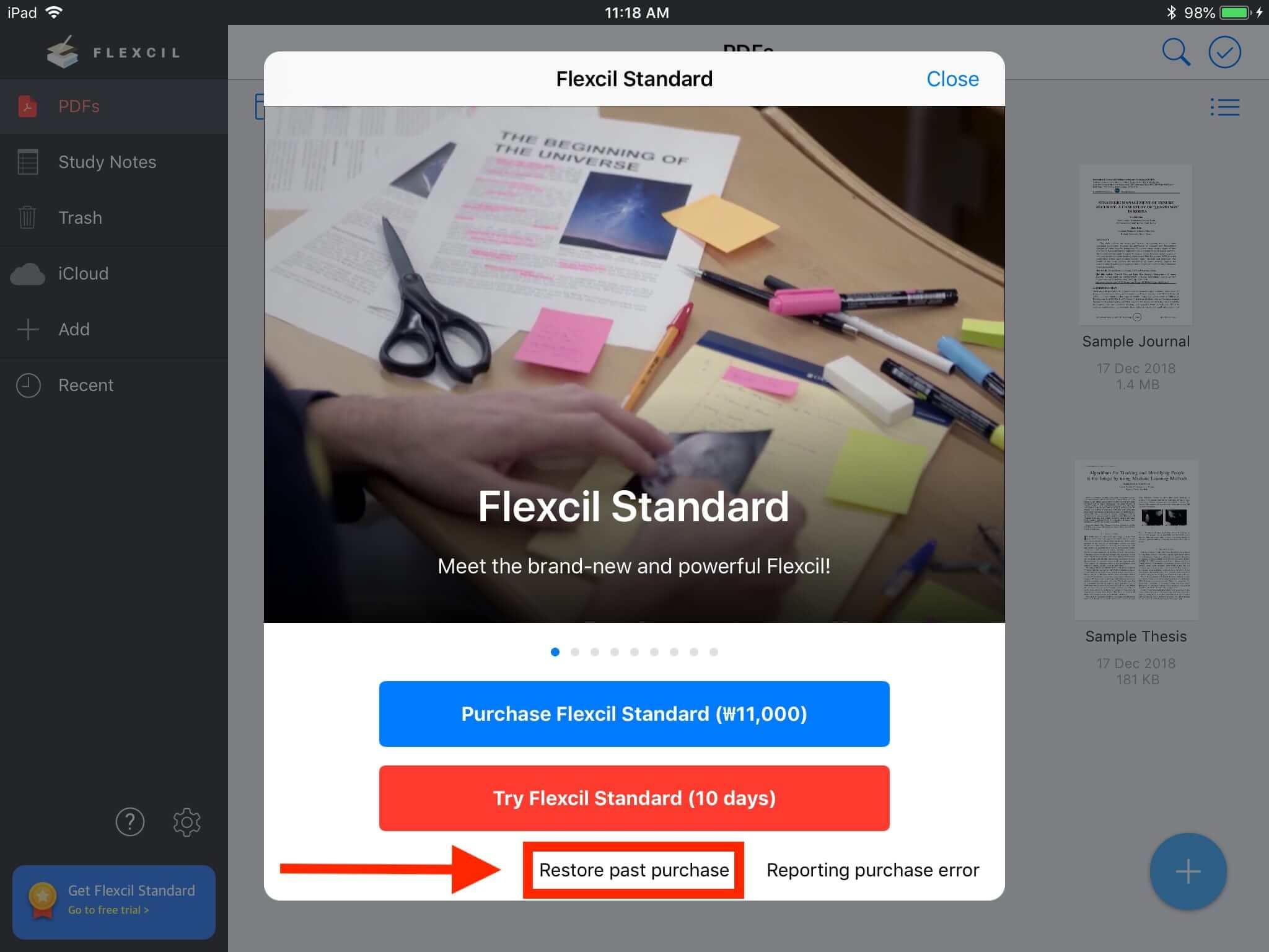 flexcil restore purchase screenshot