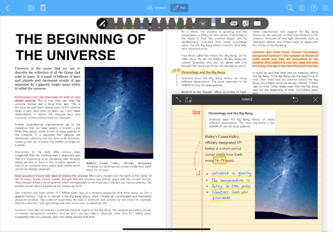 A splitscreen of a student's PDF file and his notes